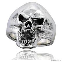 Size 8 - Sterling Silver Skull Ring 1 1/16 in  - $85.01