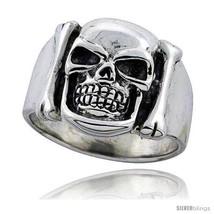 Size 8 - Sterling Silver Skull & Bones Ring 3/4 in  - $46.11