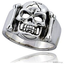 Size 10 - Sterling Silver Cracked Skull & Bones Ring 3/4 in  - $78.11