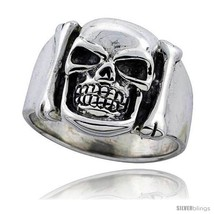 Size 9 - Sterling Silver Skull & Bones Ring 3/4 in  - $46.11