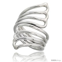 Sterling silver hand made fan shaped wire wrap ring 1 1 2 in 39 mm wide thumb200