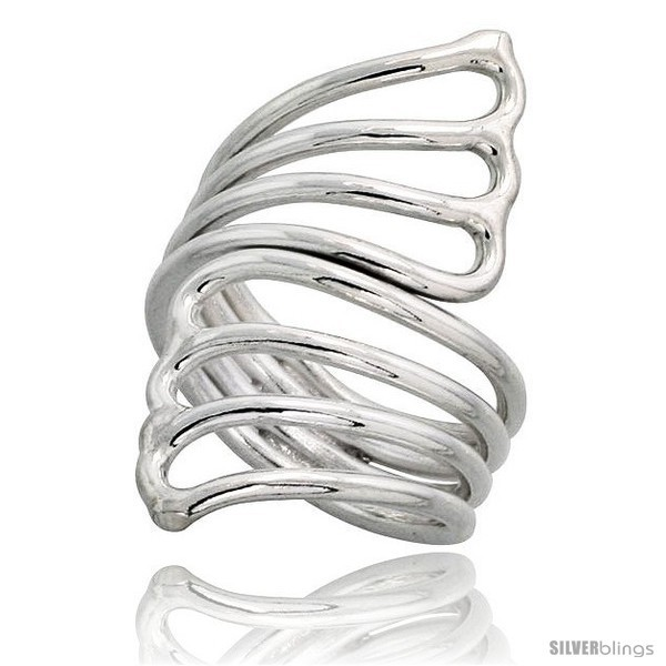 Sterling silver hand made fan shaped wire wrap ring 1 1 2 in 39 mm wide