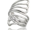 Sterling silver hand made fan shaped wire wrap ring 1 1 2 in 39 mm wide thumb155 crop