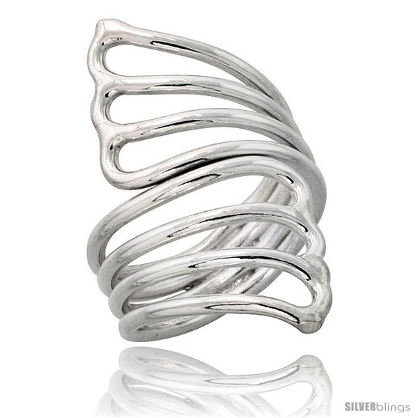 Size 9.5 - Sterling Silver Hand Made, Fan-shaped Wire Wrap Ring, 1 1/2 in (39
