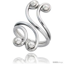Size 9.5 - Sterling Silver Hand Made Freeform Wire Wrap Ring, w/ 4 Beads... - $31.71