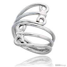 Sterling silver hand made freeform wire wrap ring 1 1 16 in 27 mm wide thumb200