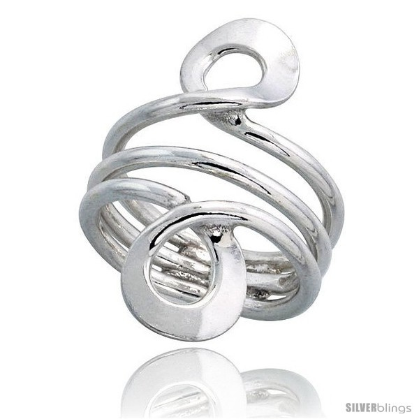 Primary image for Size 9.5 - Sterling Silver Hand Made, Freeform Wire Wrap Ring, 1 1/4 in (34 mm)
