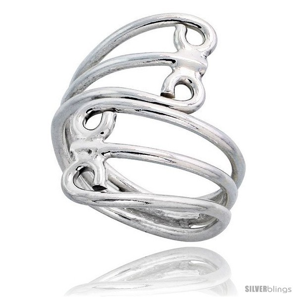 Sterling silver hand made freeform wire wrap ring 1 1 16 in 27 mm wide