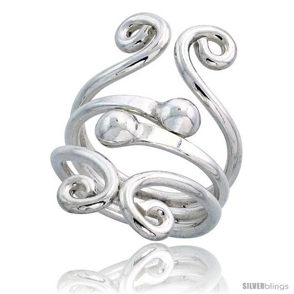 Primary image for Size 9.5 - Sterling Silver Hand Made Freeform Wire Wrap Ring w/ 2 Beads, 1 1/4