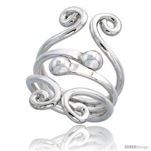 Size 9.5 - Sterling Silver Hand Made Freeform Wire Wrap Ring w/ 2 Beads, 1 1/4  - $38.18