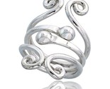 Sterling silver hand made freeform wire wrap ring w 2 beads 1 1 4 in 31 mm wide thumb155 crop