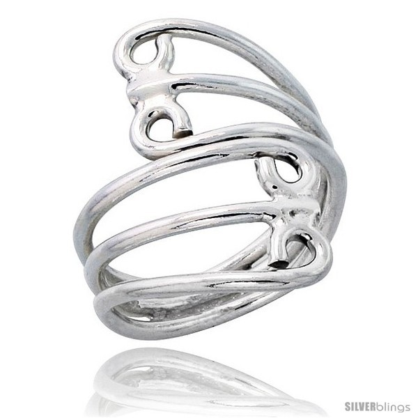 Size 7.5 - Sterling Silver Hand Made Freeform Wire Wrap Ring, 1 1/16 in (27 mm)