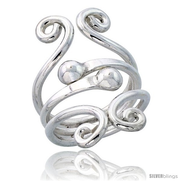 Size 10 - Sterling Silver Hand Made Freeform Wire Wrap Ring w/ 2 Beads, 1 1/4