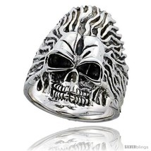 Size 9 - Sterling Silver Skull on Flames Ring 1 3/8 in  - $110.41
