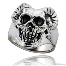 Size 13 - Sterling Silver Skull Ring w/ Horns 1 in  - $138.14