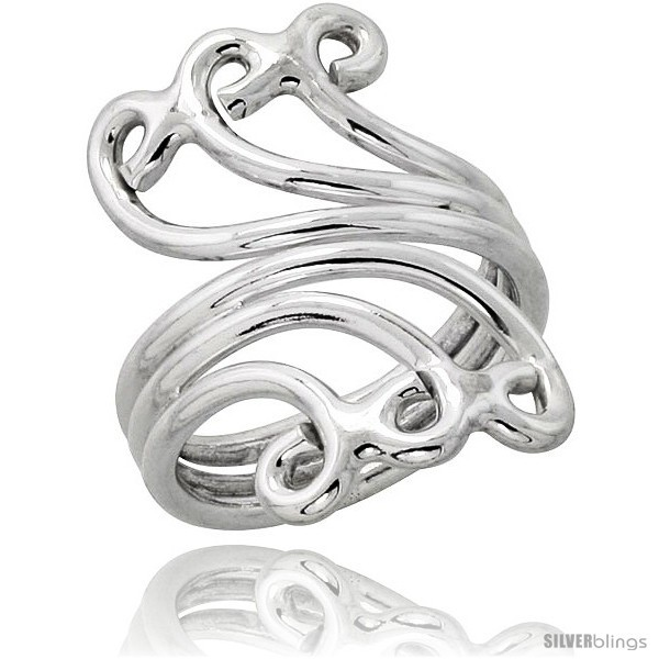 Size 8.5 - Sterling Silver Hand Made Wire Wrap Ring, 1 1/4 in (30 mm) wide
