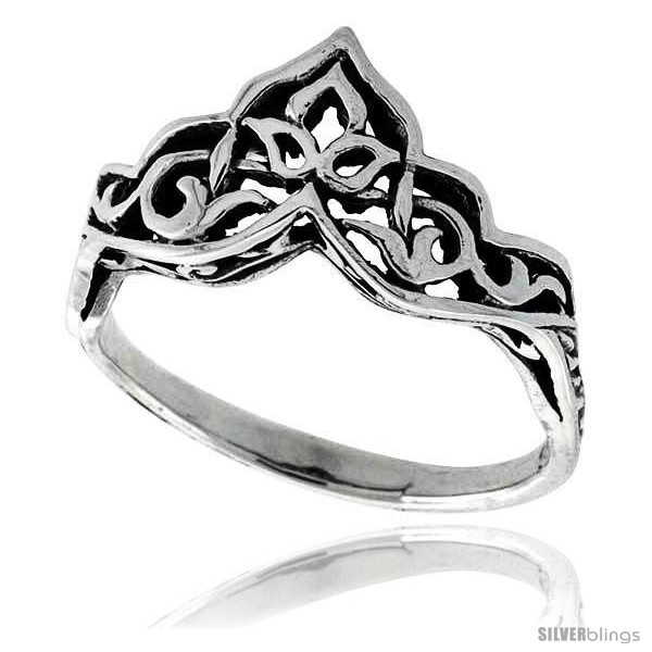 Primary image for Size 6.5 - Sterling Silver Celtic Crown Ring 3/8 in