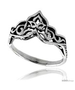 Size 6.5 - Sterling Silver Celtic Crown Ring 3/8 in  - $19.65