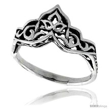 Size 8.5 - Sterling Silver Celtic Crown Ring 3/8 in  - $19.65