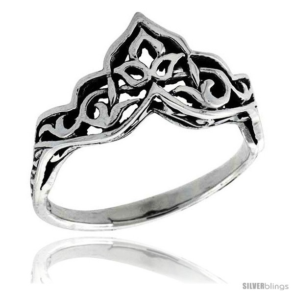 Size 8.5 - Sterling Silver Celtic Crown Ring 3/8 in