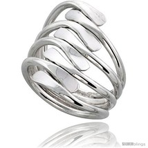 Size 9.5 - Sterling Silver Hand Made Freeform Wire Wrap Ring, 1 in (25 mm)  - $40.46