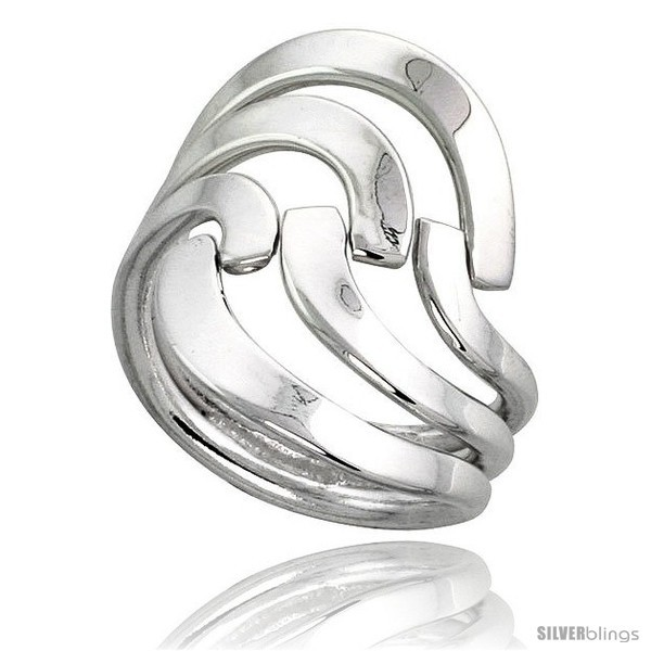 Sterling silver hand made freeform wire wrap ring 1 in 26 mm wide
