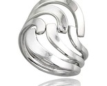 Sterling silver hand made freeform wire wrap ring 1 in 26 mm wide thumb155 crop