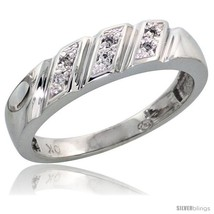 Size 8 - 10k White Gold Ladies' Diamond Wedding Band, 3/16 in wide -Style  - $170.67