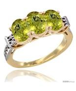 Size 6 - 10K Yellow Gold Natural Lemon Quartz Ring 3-Stone Oval 7x5 mm D... - $548.49