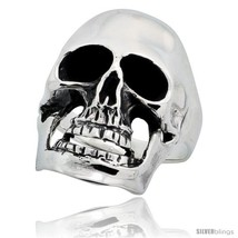 Size 9 - Sterling Silver Skull Ring 1 1/8 in  - $73.43