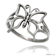 Size 6 - Sterling Silver Butterfly Ring 5/8 in  - $11.30