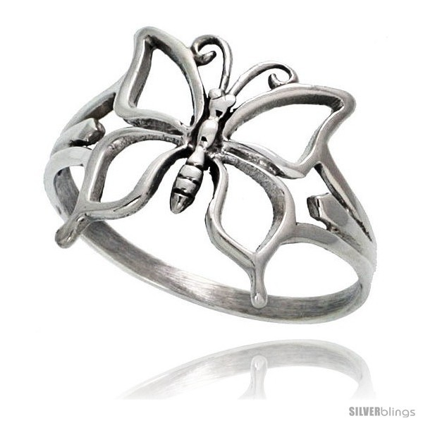 Sterling silver butterfly ring 5 8 in wide