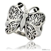 Size 7.5 - Sterling Silver Butterfly Ring 3/4 in Long -Style  - $25.47