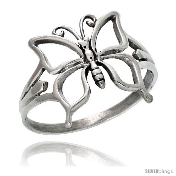 Size 7 - Sterling Silver Butterfly Ring 5/8 in