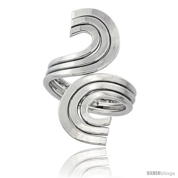 Sterling silver wire wrap ring triple c swirl handmade 1 5 16 in long