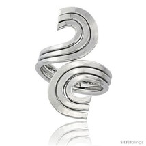 Size 8.5 - Sterling Silver Wire Wrap Ring Triple C Swirl Handmade, 1 5/1... - $46.37