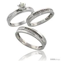 10k white gold diamond trio wedding ring set his 5mm hers 3 5mm style ljw120w3 thumb200