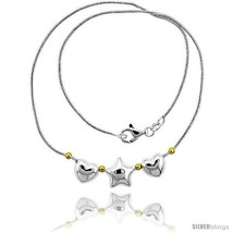 Length 7 - Sterling Silver Necklace / Bracelet with 2 Hearts Star  - $66.24