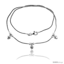 Length 7 - Sterling Silver Necklace / Bracelet with Three 1/4in  Hearts  - $52.44