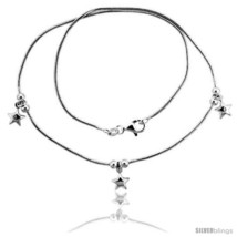 Length 7 - Sterling Silver Necklace / Bracelet with Three 1/4in  Star  - $52.44