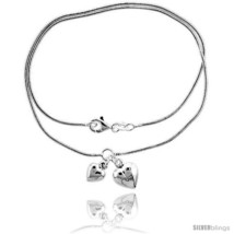Length 7 - Sterling Silver Necklace / Bracelet with 2 Heart  - $69.70