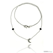 Length 7 - Sterling Silver Necklace / Bracelet with a Moon  - $29.68