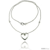Length 7 - Sterling Silver Necklace / Bracelet with a Heart Slide -Style  - $37.96
