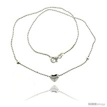 Length 7 - Sterling Silver Necklace / Bracelet with a Heart Slide -Style  - $29.68