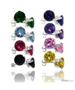 8-Pair Set Sterling Silver Color Cubic Zirconia Stud Earrings 7 mm Emera... - $68.64