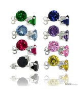 8-Pair Set Sterling Silver Color Cubic Zirconia Stud Earrings 6 mm Emera... - $57.12