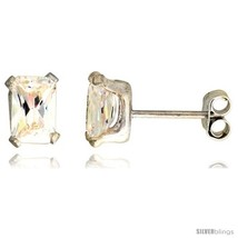 Sterling Silver Cubic Zirconia Stud Earrings 1 1/4 cttw Emerald  - $11.17