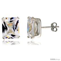 Sterling Silver Cubic Zirconia Stud Earrings 8 cttw Emerald  - $16.37