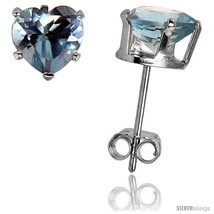 Sterling Silver Heart Cubic Zirconia Stud Earrings 6 mm Blue Topaz Colored 1  - $14.90