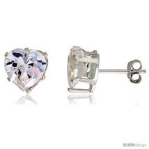 Sterling Silver Cubic Zirconia Stud Earrings 3 1/2 cttw Heart  - $13.10